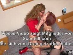 Real German Homemade FFM Threesome with Ginger Hooker Teen