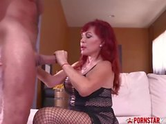 'PORNSTARPLATINUM Redhead MILF Sexy Vanessa Sucks Huge Cock'