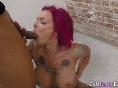 Tattooed milf in blowbang