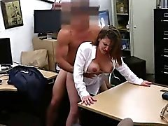 Busty brunette babe getting fucked at the pawn shop