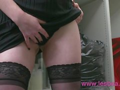 Lesbea Alt babe masturbates at work before eating hot blonde boss pussy