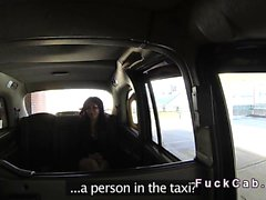 Ebony gags and fucks big cock in cab