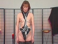 Brunette MILF is stockings gets tied and dominated