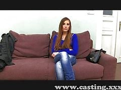 Stunning young girl at her first casting