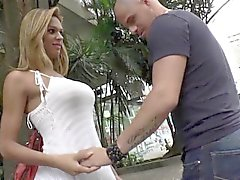 Latina tranny deepthroated by lucky guy