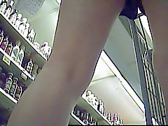 no pantie under shorts in supermarket (not my video)