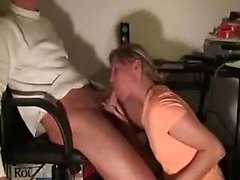 Blonde girl sucks on her fans large penis about the seat