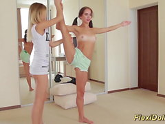 skinny real flexi doll stretched by her girlfriend