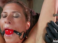 Brunette girl got punished with toys